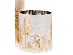 Svícen stříbrný se zlatými stromy