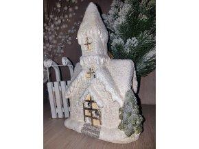 Vánoční kostel LED, 28 cm