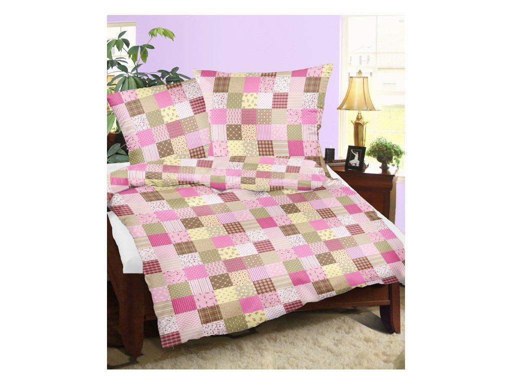 krep patchwork ružová