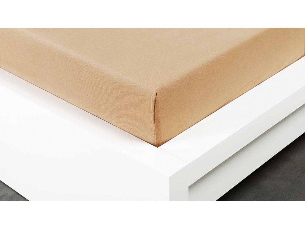Jersey prostěradlo Exclusive dvoulůžko - béžová 200x220 cm