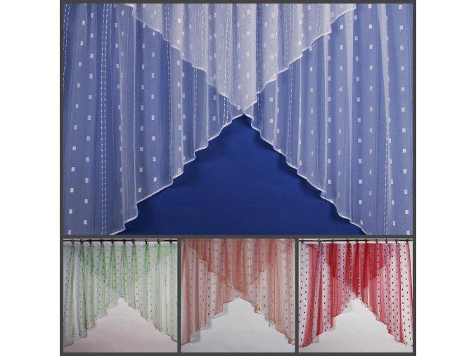 Záclona kusová s kostičkovým vzorem 170 x 310