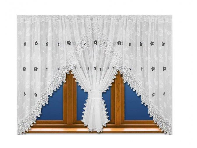 Luxusní hotová kusová záclona Rozálie šedé květy 400x165 cm