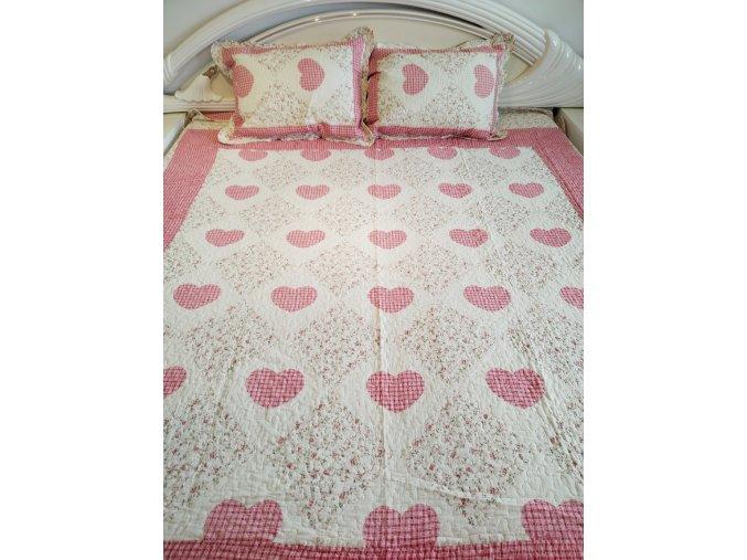 Bytovyshop Přehoz na postel  Srdičko červená 230x250