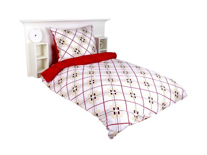 Cotton povlečení flanel Kostky duo červená  140x200,80x80cm