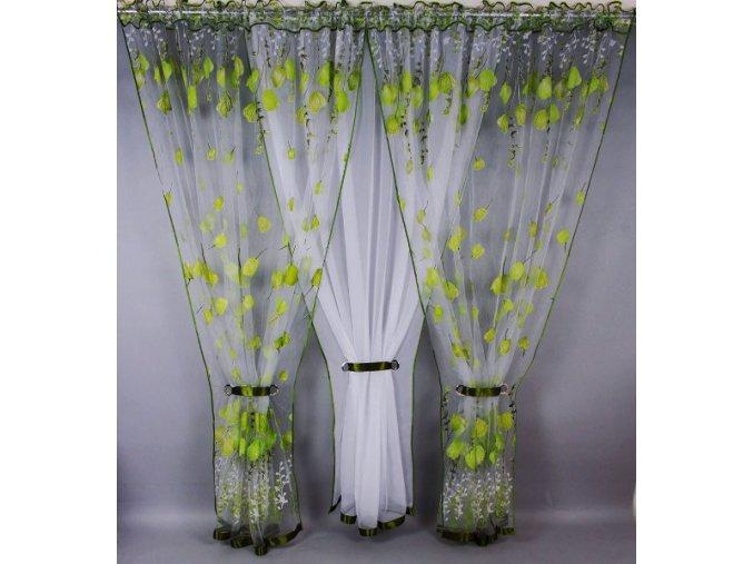 Pola Záclona kusová trojdílná Zelené tulipány 250x400 cm