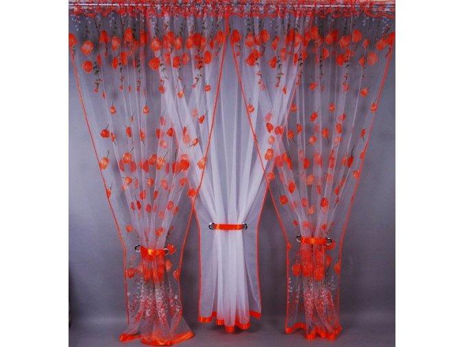 Pola Záclona kusová trojdílná Oranžové tulipány 250x400 cm