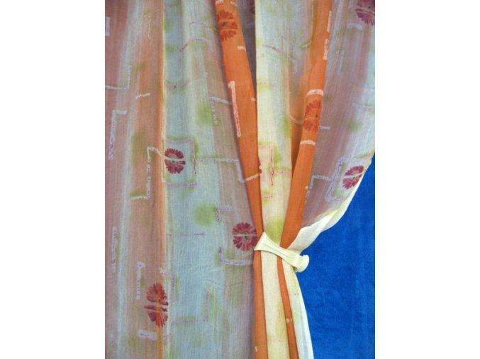 Závěs KYTKA V KOSTCE voál kreš  oranžová  160cm