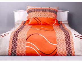 Bavlněné prodloužené povlečení a vlna oranžová 140x220, 70x90