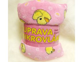 Dětská deka z mikrovlákna s polštářem KAČENKA RUŽOVÁ  100x150