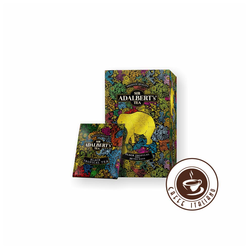 sir adalberts tea black tropical tea cierny caj ceylon porciovany 25ks logo caffeitaliano