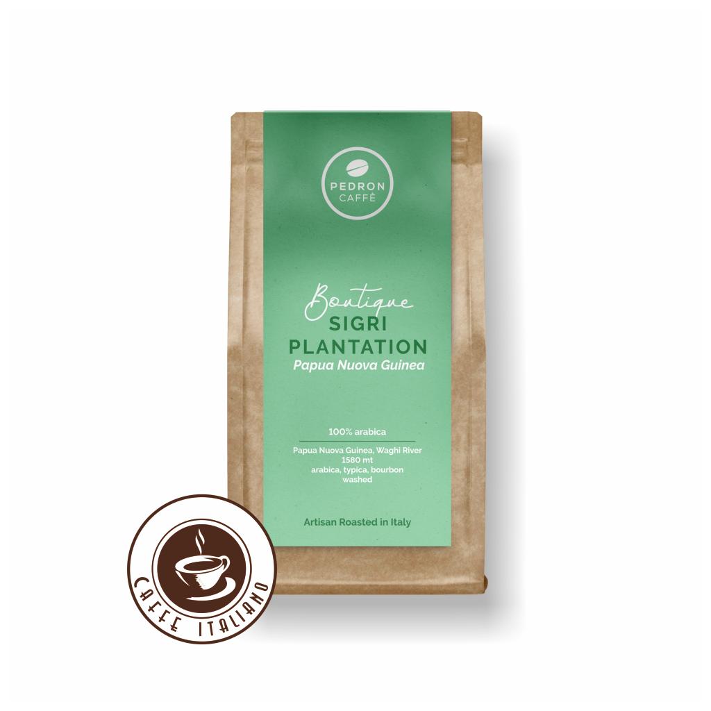 pedron caffe papura nova guinea sigri plantation 100arabica zrnkova kava 250g logo caffeitaliano