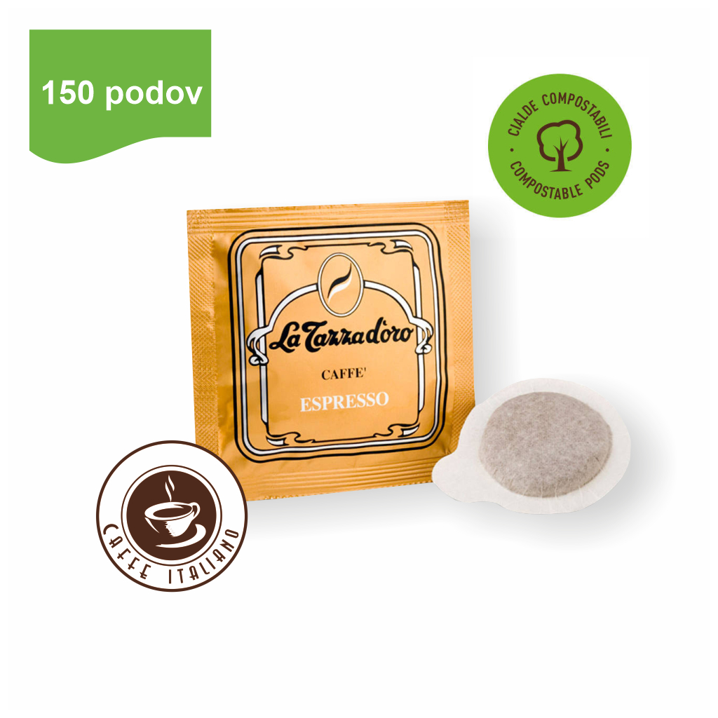 la tazza doro oro ESE pody 90arabica 10robusta mleta kava logo caffeitaliano