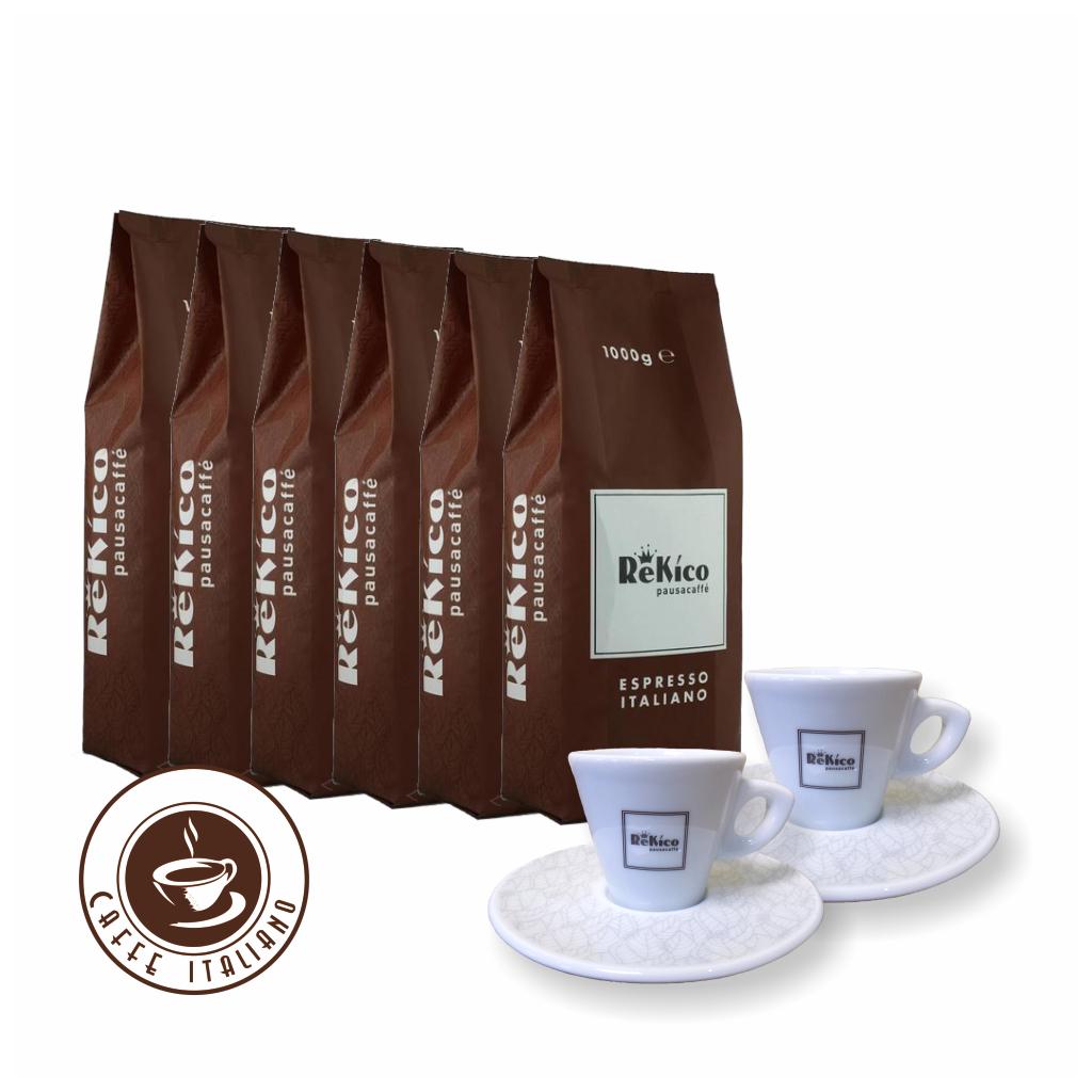 Rekico Quality 6kg zrnková káva + 2 espresso šálky grátis