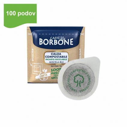 caffe borbone miscela BLU ESE pody 100ks dm44 arabica robusta kompostovatelne logo caffeitaliano