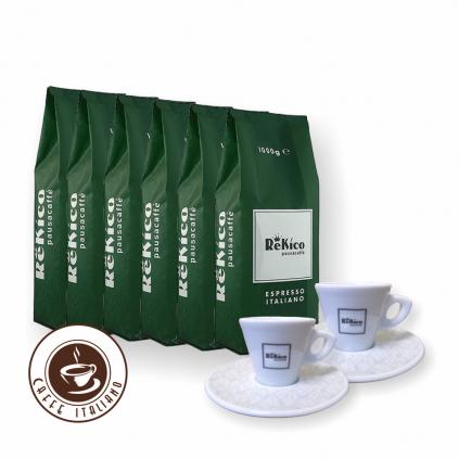Rekico Flor Blend 6kg zrnková káva + 2 espresso šálky grátis