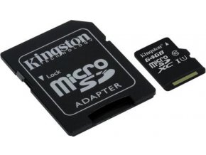 KINGSTON microSDHC 64GB UHS I U1 + adaptér SDCS64GB