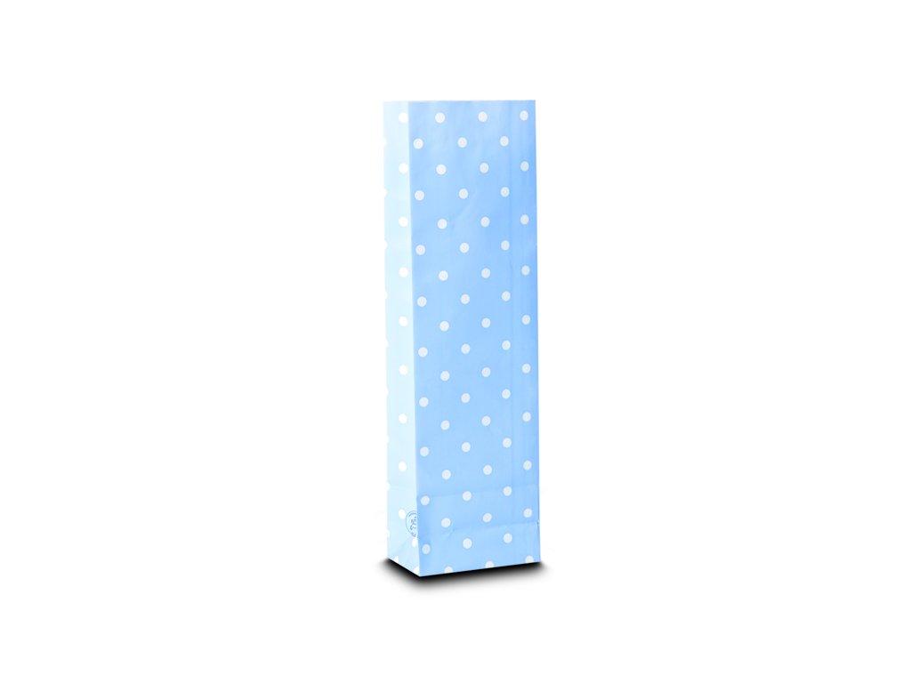 Třívrstvý světle modrý sáček s bílými puntíky_Čajová zahrada
