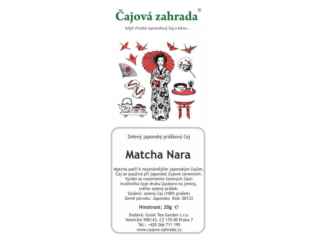 Zelený sypaný čaj Matcha Nara Tea v sáčkuMatcha Tea