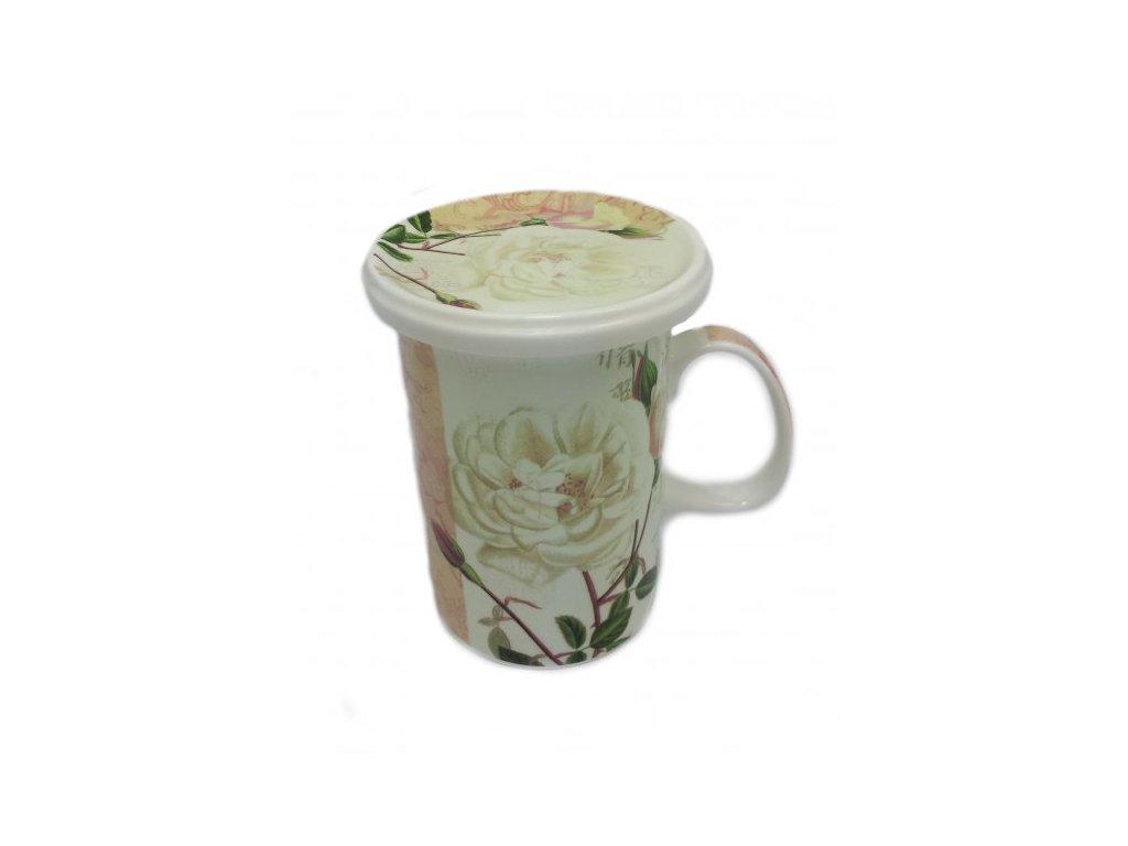 Bylinkový hrnek s filtrem Bílá růže