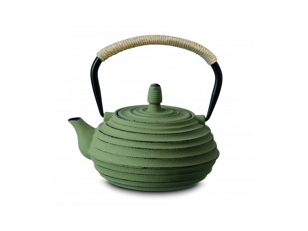 Japonská litinová konvice Ainu zelená