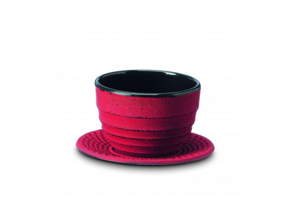 Japonský litinový šálek Ainu červený