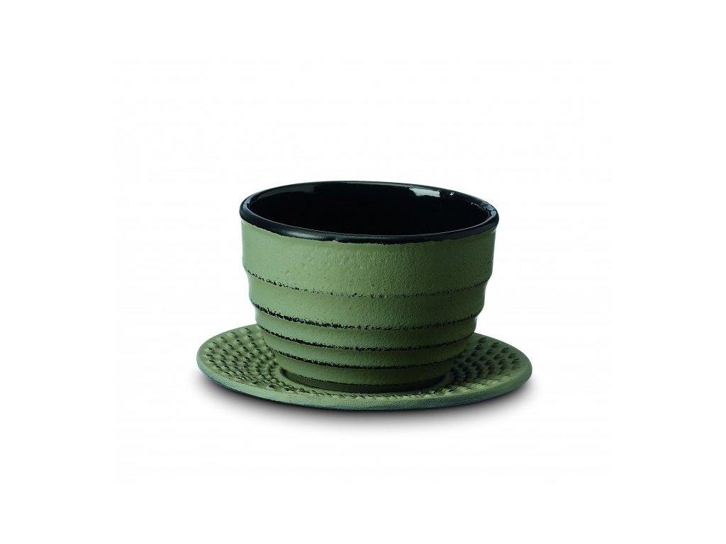 Japonský litinový šálek Ainu zelený
