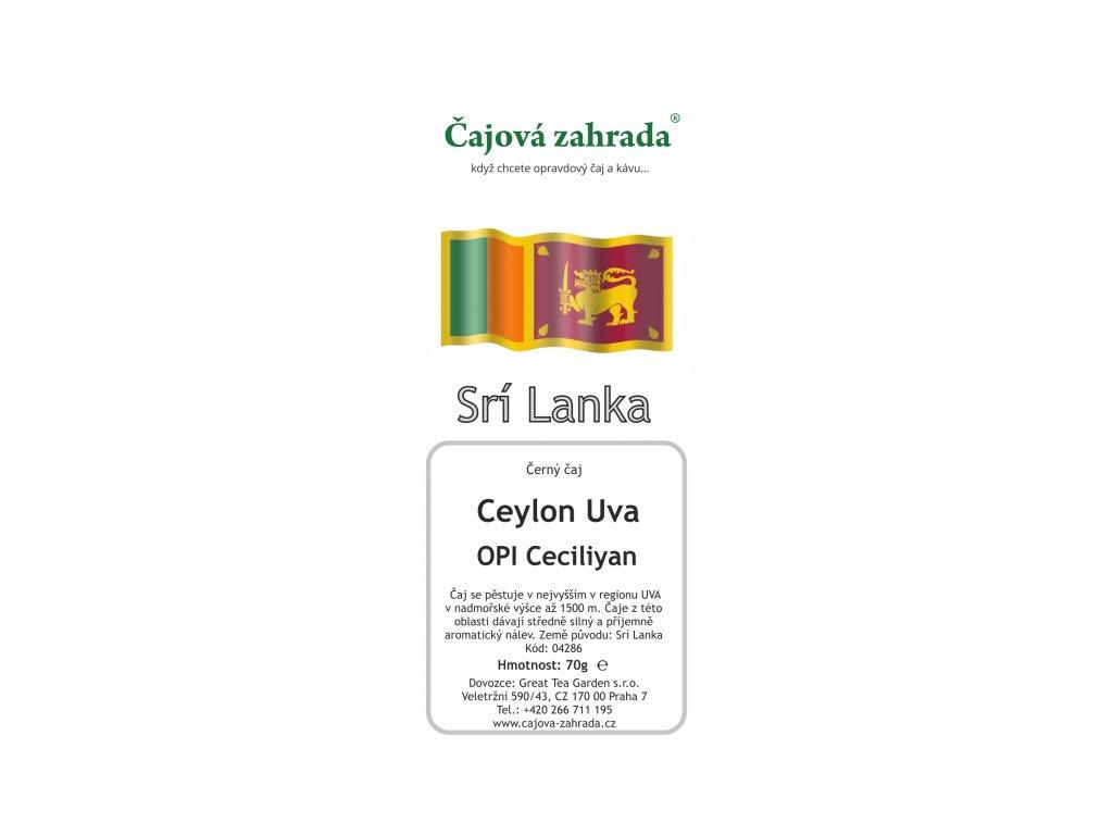 Sypaný černý čaj Ceylon Uva OPI Ceciliyan
