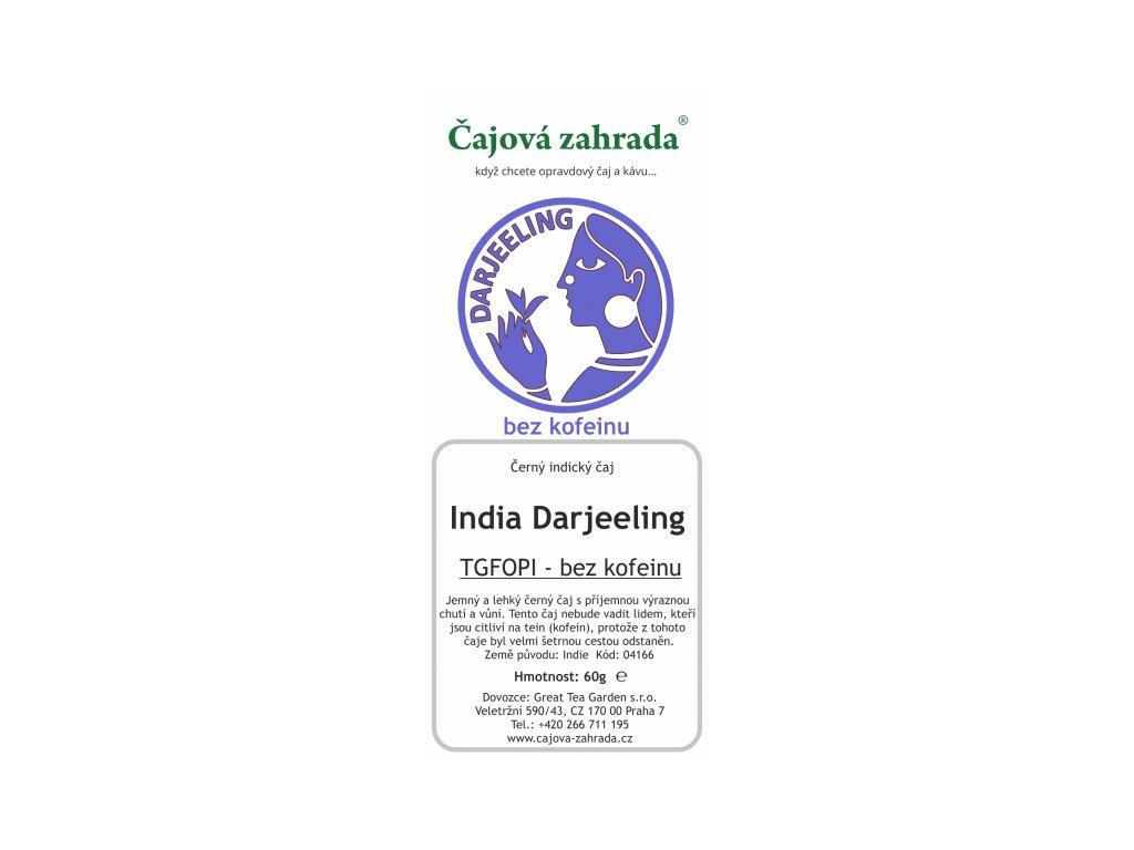 Černý sypaný čaj Darjeeling bez kofeinuSypaný černý čaj India Darjeeling TGFOPI - bez kofeinu