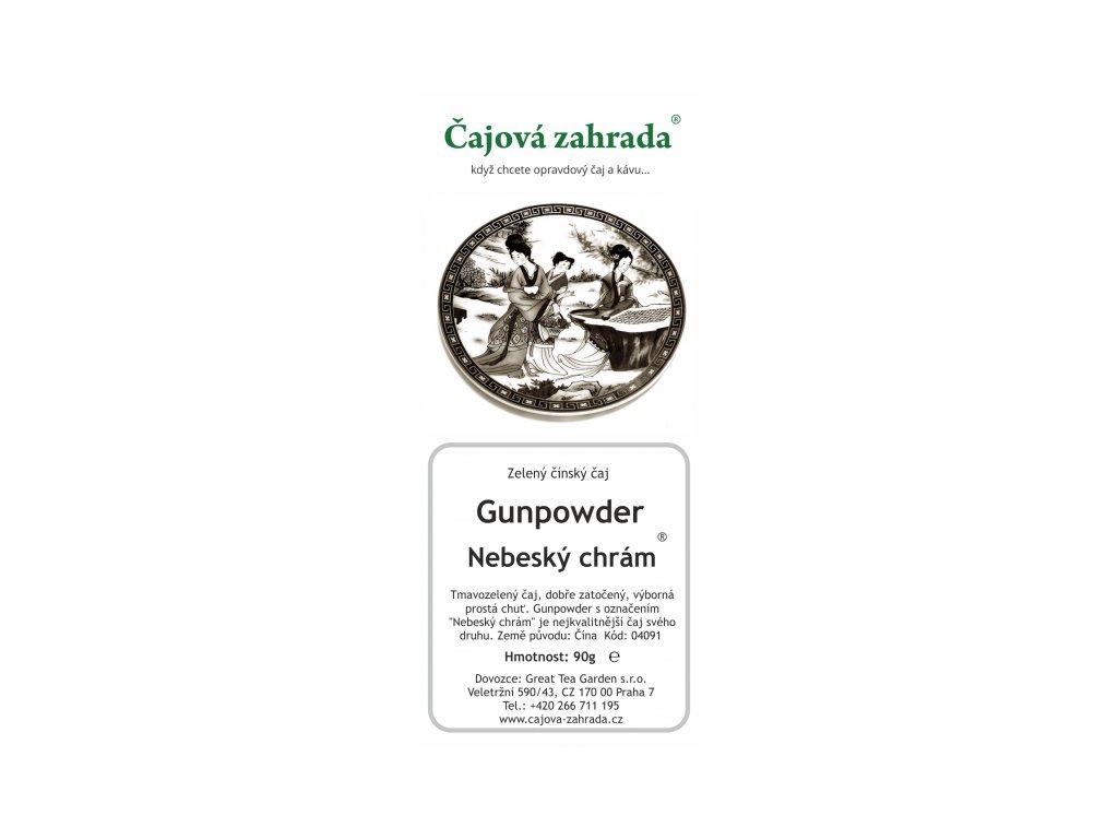 Zelený sypaný čaj China Gunpowder Nebeský chrám
