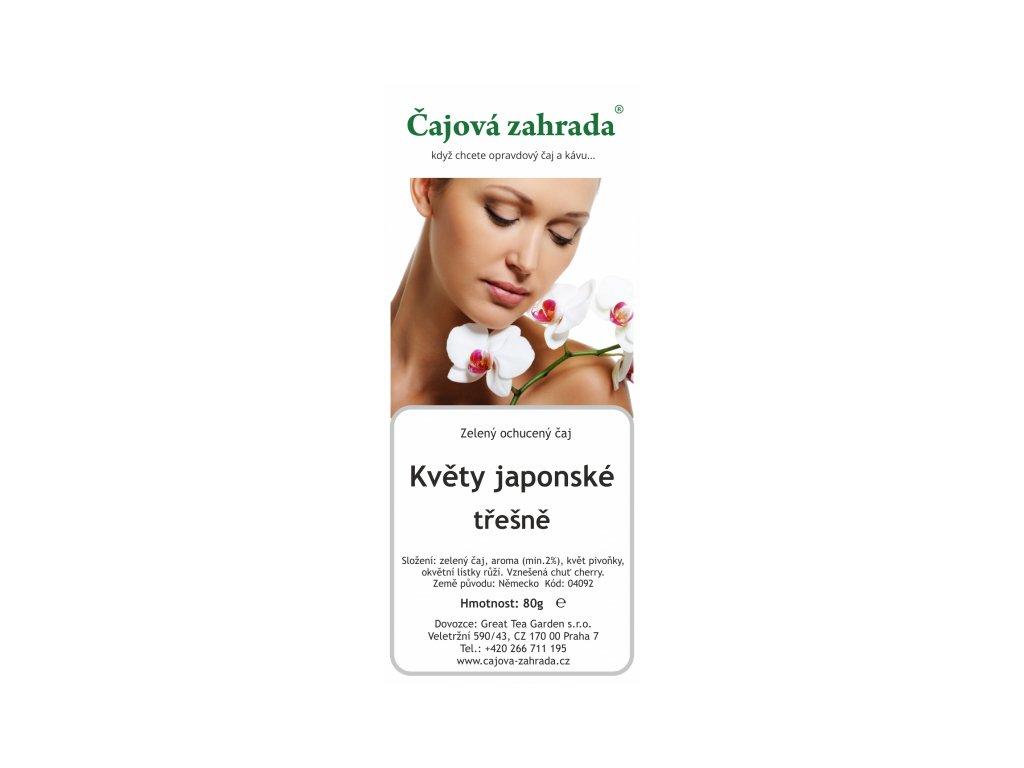 Sypaný zelený ochucený čaj Květy japonské třešně
