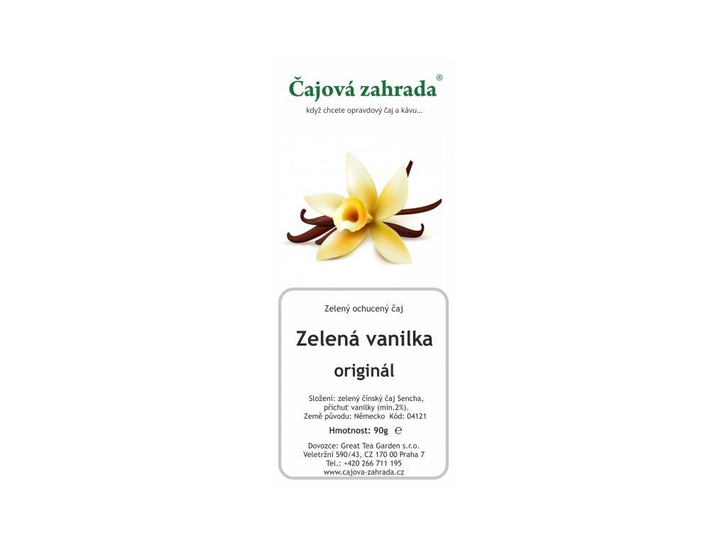 Sypaný zelený ochucený čaj Zelená vanilka