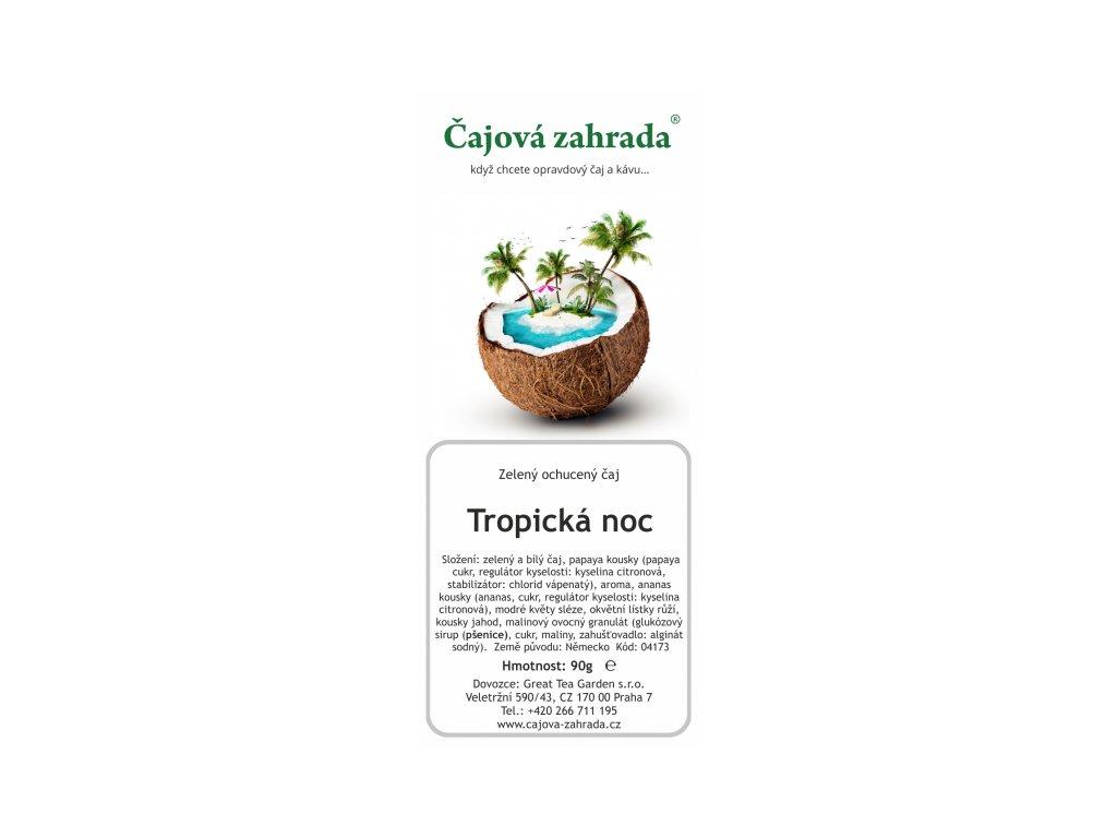Sypaný zelený ochucený čaj Tropická noc
