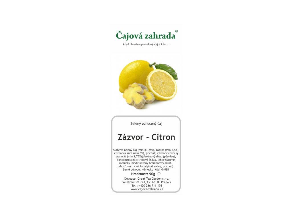 Sypaný zelený ochucený čaj Zázvor Citron