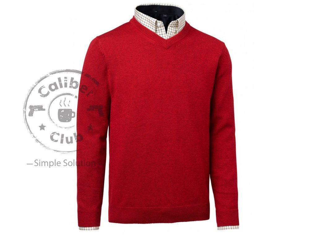 Gary Wool Pullover w Patch Red Barva: Red