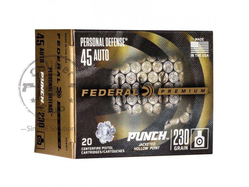 naboj kulovy federal personal defense 45 acp 230gr jhp punch