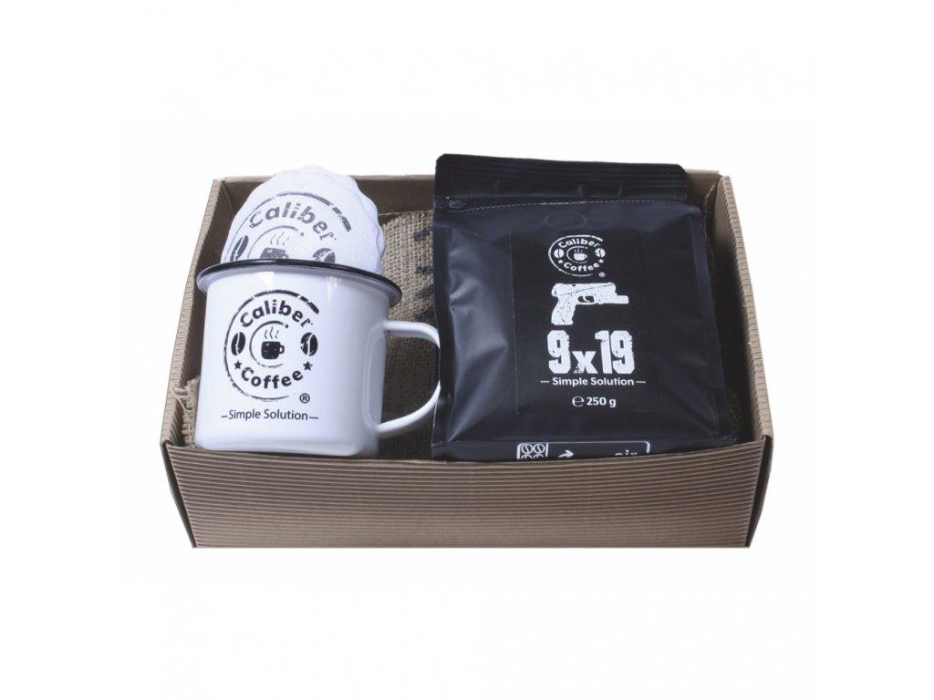 Dárkový balíček Caliber Coffee® .45ACP + plecháček, rozetky