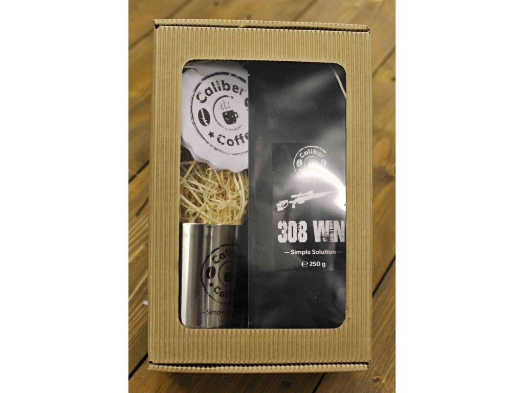 Dárkový balíček Caliber Coffee® .308win Sniper + nerez.hrnek, rozetky