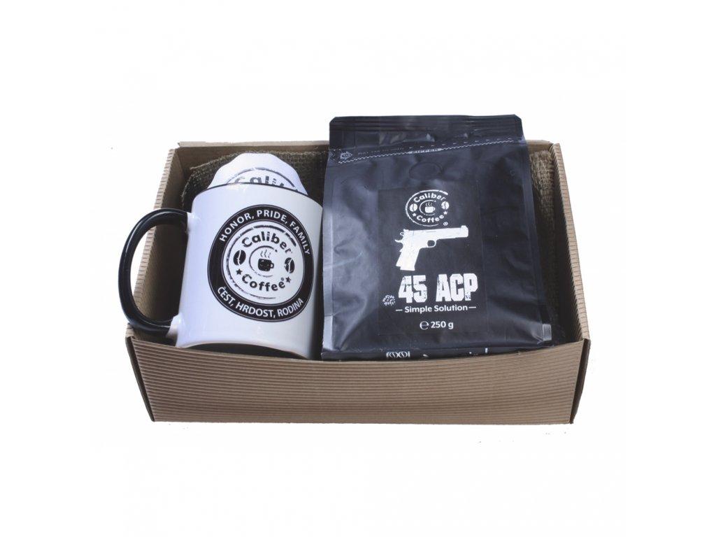 Dárkový balíček Caliber Coffee® + keramický hrnek a rozetky