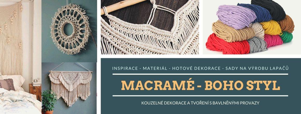 Materiál a hotové MACRAMÉ dekorace