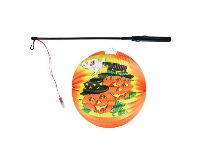 Lampion Halloween kulatý veselé dýně 25 cm