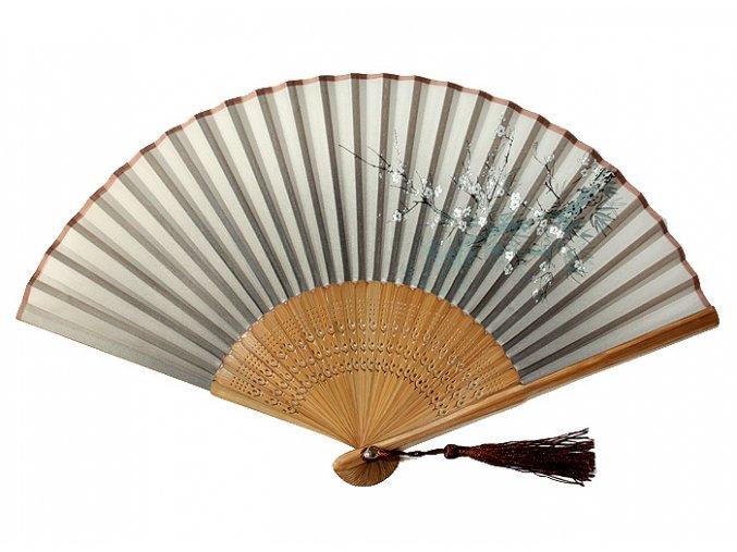 Luxusní bambusový vějíř hnědý šedý motiv 01