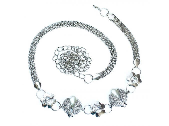 Stříbrný řetízkový pásek na šaty Berušky 01