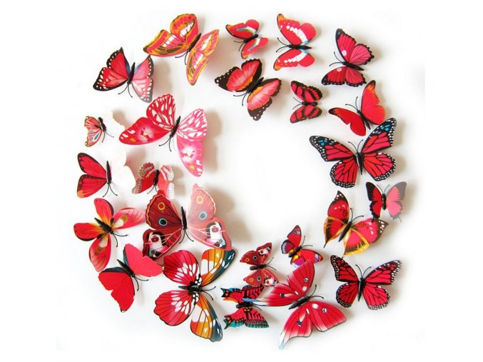 Dekorace na zeď 3D motýlci červená