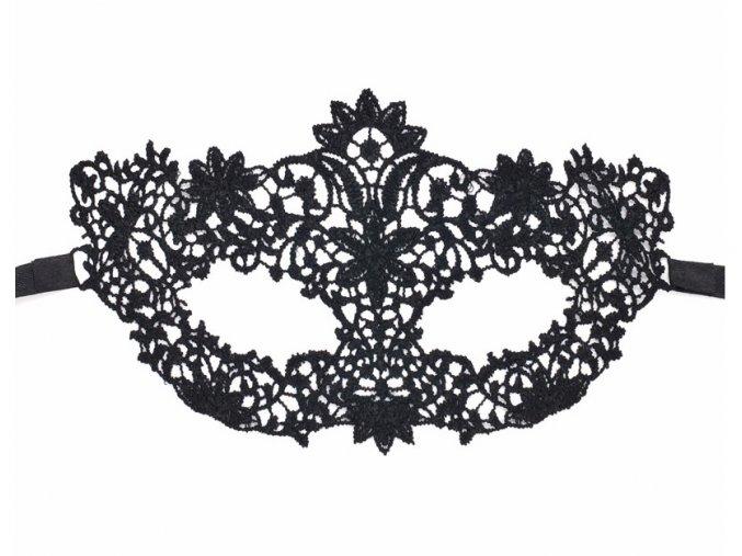 Černá krajková maska FLOWERS