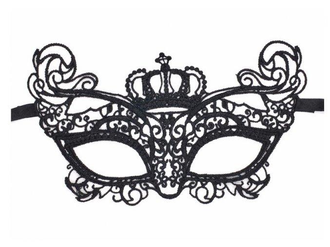 Černá krajková maska CROWN 01