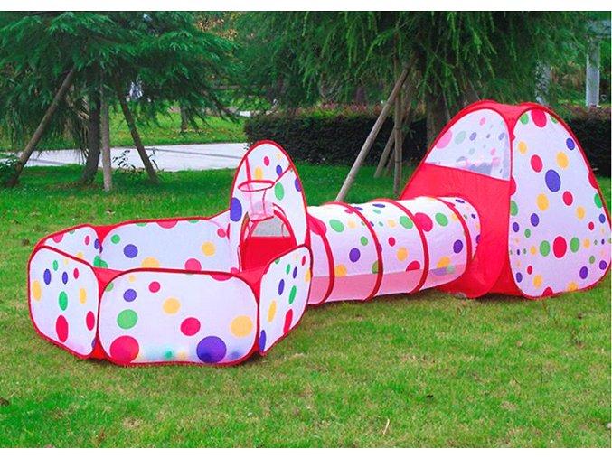 Dětský stan tunel bazén červený s puntíky 01