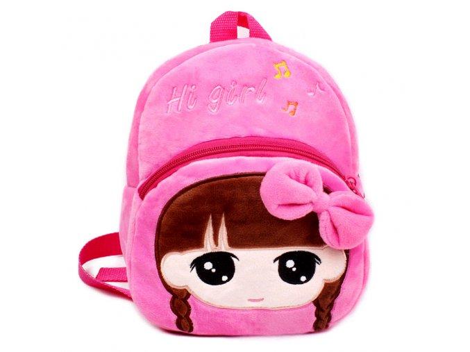 Plyšový batoh pro děti Holčička růžový 01
