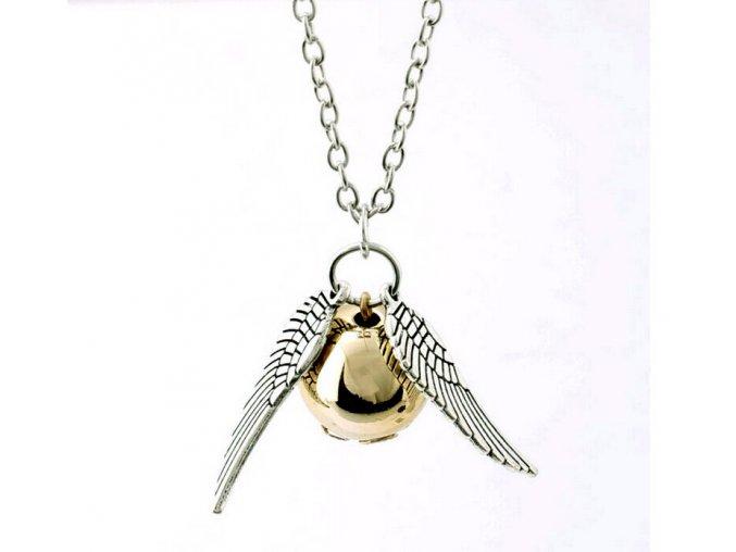 Řetízek s přívěskem Zlatonka a křídla 01