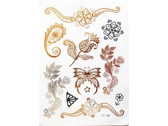 Metalické nalepovací tetování Ornamenty CT 146