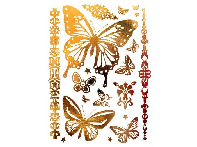 Metalické nalepovací tetování Motýli